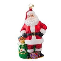 Christopher Radko Glass Job Well Done Santa Claus Christmas Ornament #1017032 - RED