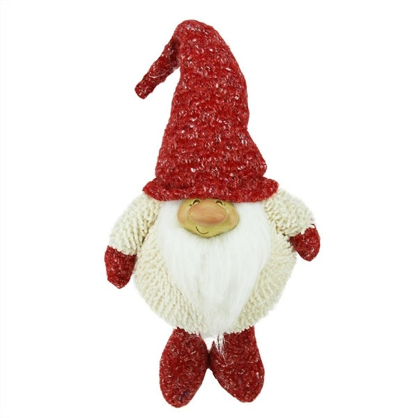 "17"" Textured Ivory and Red Chubby Smiling Gnome Plush Table Top Christmas Figure - WHITE"