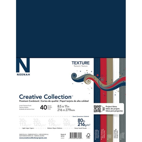 "Neenah Textures Cardstock 8.5""X11"" 40/Pkg-5 Colors/8 Each"