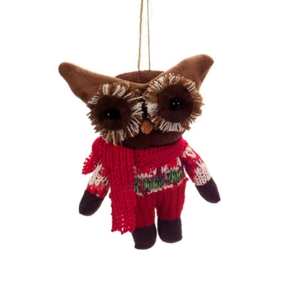 "6.5"" Country Cabin Plush Woodland Owl Wearing Knit Clothing Christmas Ornament - brown"
