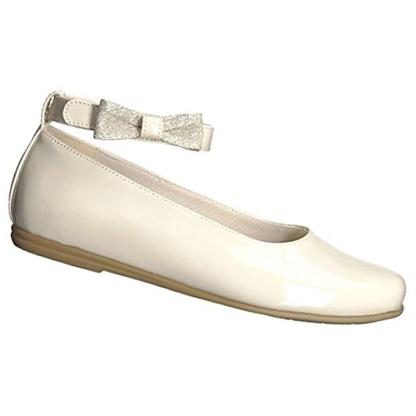 Shop Rachel Shoes Girls Bone Glitter Bow Accented Ankle Strap Dress ... f9aa29b81fc6