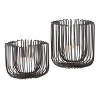 """Set of 2 Matte Black Modern Industrial Flare Wire Pillar Candle Holders 6"""" and 8"""""""