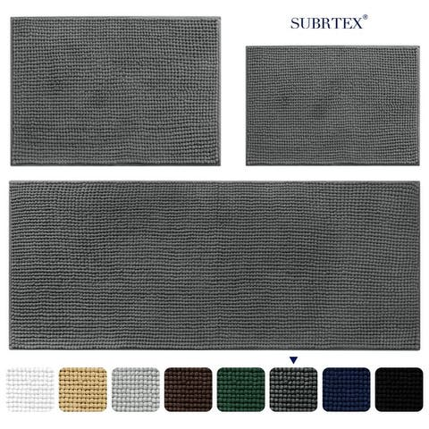Subrtex Chenille Bathroom Rugs Soft Super Water Absorbing Shower Mats