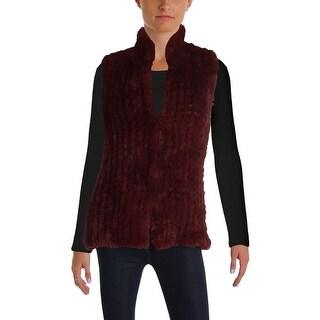Aqua Womens Outerwear Vest Winter Faux Fur
