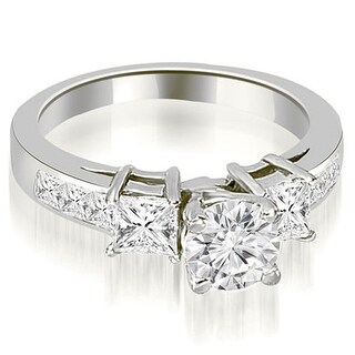 1.75 ct.tw Channel Set Princess and Round Cut Diamond Engagement Ring - White H-I (More options available)