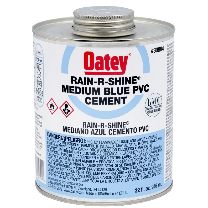 Oatey 30894 Rain-R-Shine PVC Pipe Cement, 32 Oz, Blue