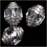 Czech Cathedral 10mm Art Deco Beads Crystal Clear /Silver Ends (10)