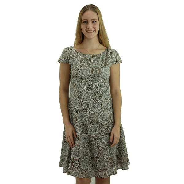 157e0434384f1 Shop Signature Weaves Women's Tide Pool Printed Camel Casual dress ...