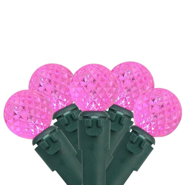 """Set of 50 Pink LED G12 Berry Christmas Lights 4"""" Bulb Spacing - Green Wire"""