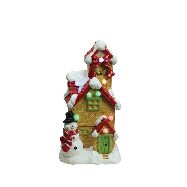 "17"" Christmas Morning LED Lighted Snow Covered Cottage w/ Snowman Musical Christmas Tabletop Decoration"