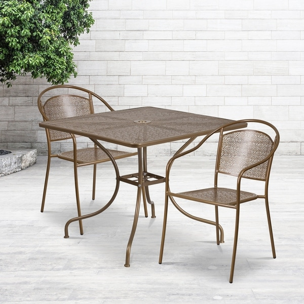 35.5'' Square Indoor-Outdoor Steel Patio Table Set with 2 Round Back Chairs. Opens flyout.