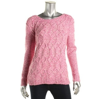 Tommy Hilfiger Womens Pullover Sweater Cable Knit Marled