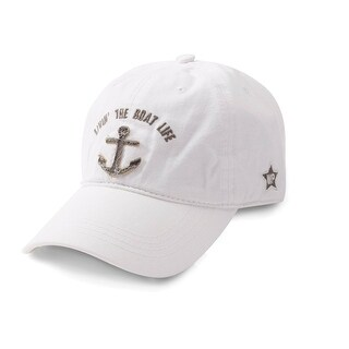 We People Women's White Boat Life Ball Cap Hat with Applique