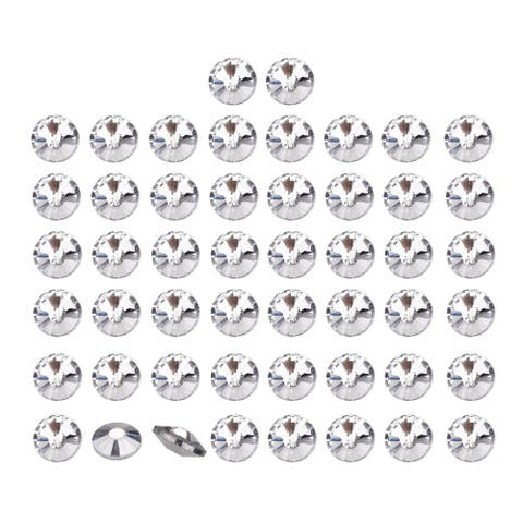 50pcs Furniture Tack Nails 22mm Dia Round Head Diamond Shape Glass DIY Sofa Buttons Headboard Crafts Decorative