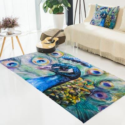 Designart 'Beautiful Peacock Watercolor' Abstract Area Rug