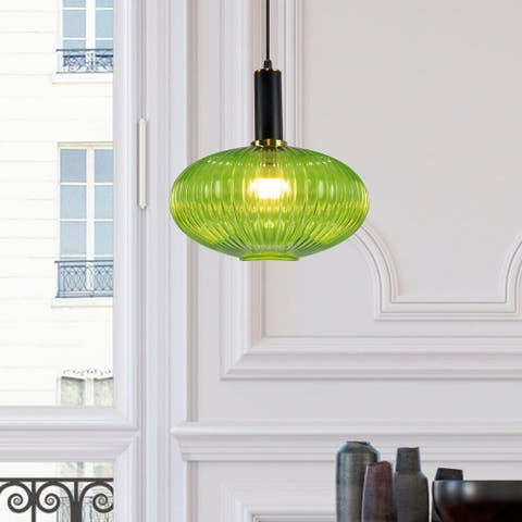 Lassen Retro Pendant 1-Light Vintage Oval Glass Shade - Green