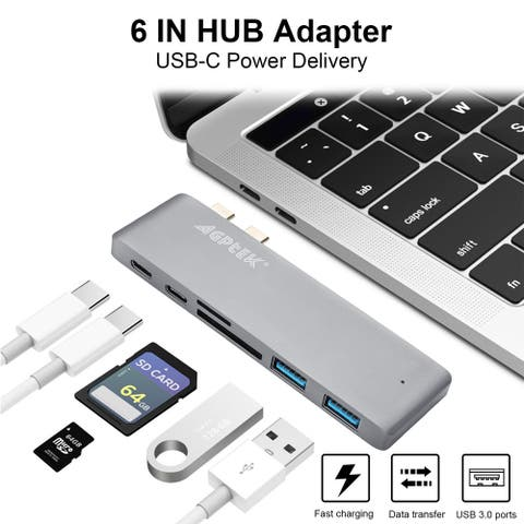 AGPtek 6 in 1 Type-C USB-C Hub Adapter Dual USB 3.0 Port Thunderbolt 3 SD card and Micro SD slot for MacBook Pro