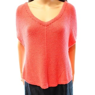 Free People NEW Orange Women's Size Small M Textured V-Neck Sweater