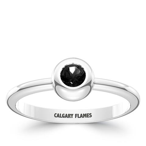 Calgary Flames Engraved Sterling Silver Black Onyx Ring