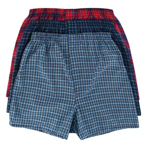 Fruit of the Loom Men's Plaid Tartan Boxer Underwear (3 Pack) - Assorted