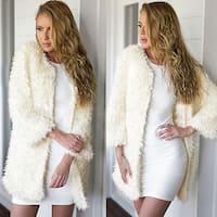 Women Plus Velvet Thickening Long Coat Jacket Faux Fur Parka Outwear Cardigan