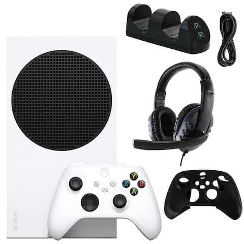 Xbox Series S 512 GB All-Digital Console with Gaming Headset, Silicone Controller Sleeve, and Dual Controller Charging Dock