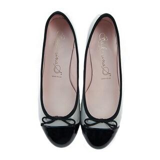 Bailarinas RICKY VCTT Grey/Black Leather Cap Toe Ballerina Pump