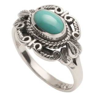 Women's Sterling 'N Turquoise Ring - Silver