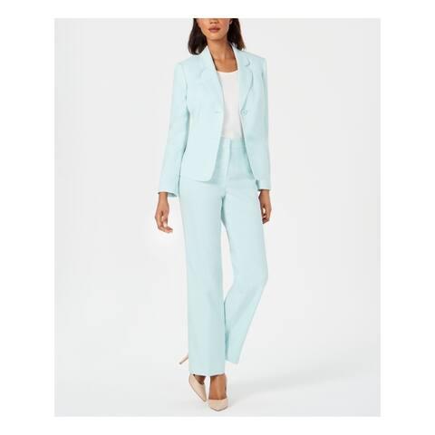 LE SUIT Womens Blue Blazer Straight leg Formal Pant Suit Size 10