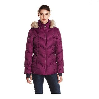 Nautica Faux-Fur-Hood Puffer Coat Pebble in Purple Medium
