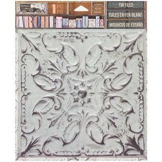 """7 Gypsies Architextures Adhesive Tin Tiles 5.75""""X5.75""""-White Wash"""