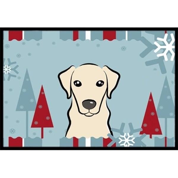 Carolines Treasures BB1718MAT Winter Holiday Yellow Labrador Indoor & Outdoor Mat 18 x 27 in.