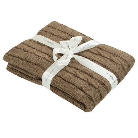 """NTBAY Super Soft Cozy Solid Color Cotton Cable Knit Toddler Throw Blanket Hypoallergenic 30"""" x 40"""""""