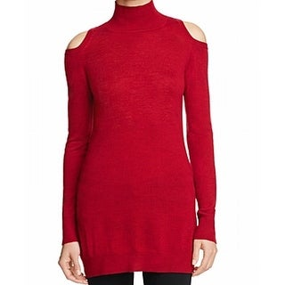 Three Dots NEW Red Womens Size XS Cold-Shoulder Turtleneck Wool Sweater