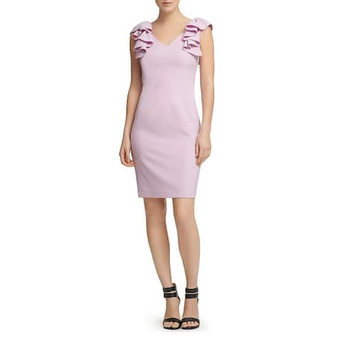 Donna Karan Womens Sheath Dress V-Neck Cocktail - Purple