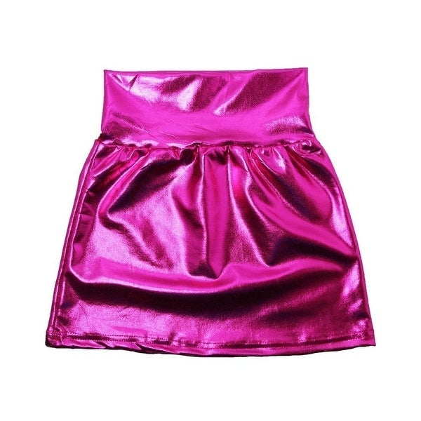 Baby Girls Hot Pink Metallic Shine Stretchy Lightweight Soft Skirt 24M