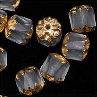 Czech Cathedral Glass Beads 6mm Matte Crystal/Gold Ends (25)