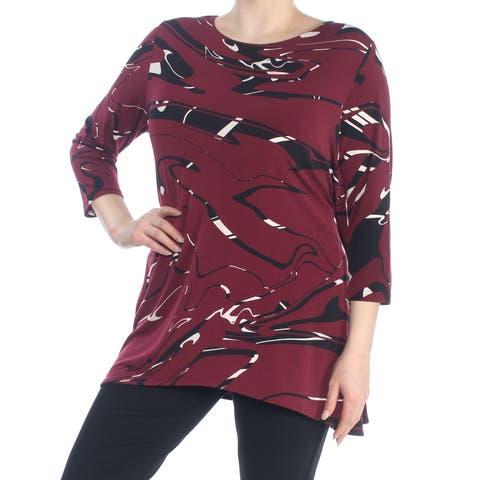 ALFANI Womens Maroon Swing Printed 3/4 Sleeve Jewel Neck Top Size: XL