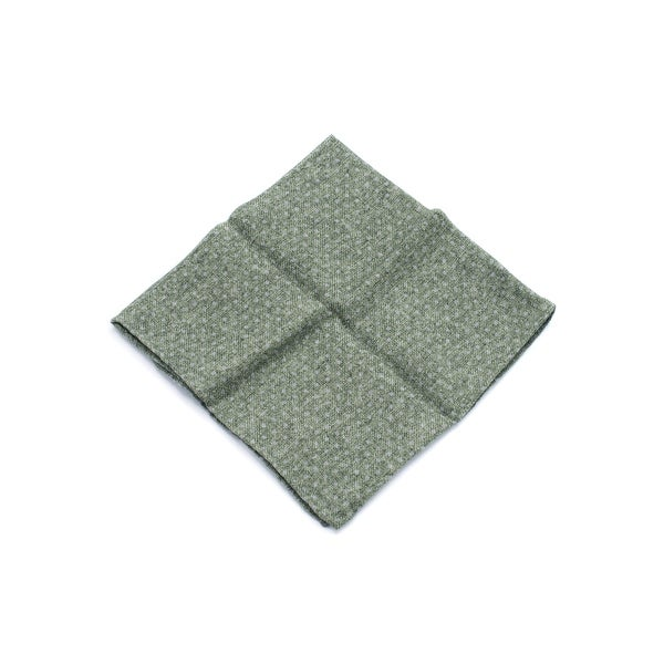 Brunello Cucinelli Men's Motled Green Wool Polka Dot Pocket Square