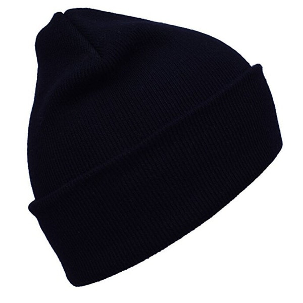 Black Cuff Warm Winter Hat Knit Plain Skull Beanie Toboggan Knit Cap Unisex 31b09ee8f5e