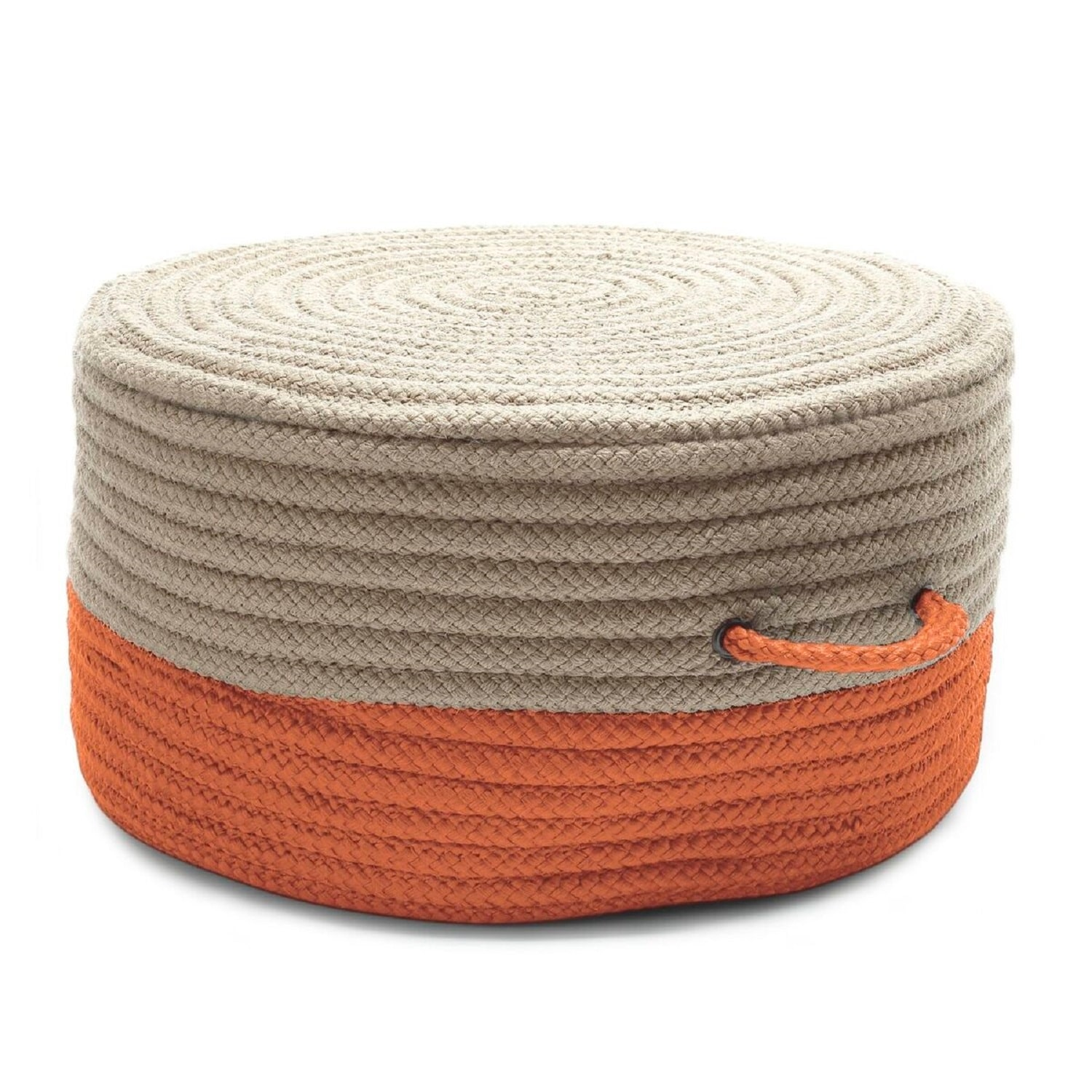 20 Beige And Orange Handmade Round Pouf Ottoman Overstock 31715852