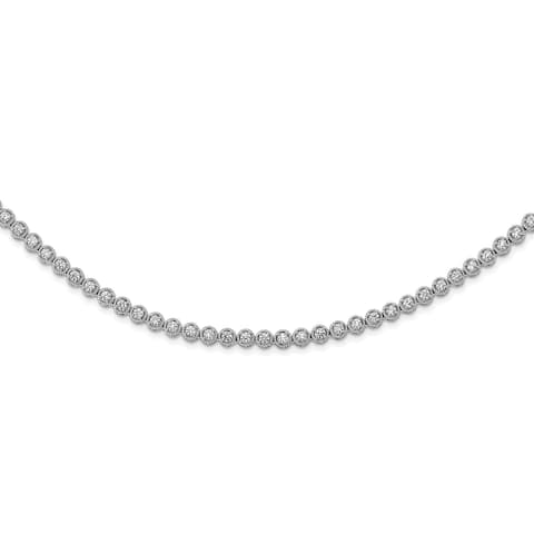 Sterling Silver Cubic Zirconia Riviera 17-inch High Polished Necklace by Versil