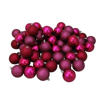 """Link to 60ct Red and Purple Shatterproof 4-Finish Christmas Ball Ornaments 2.5"""" (60mm) Similar Items in Christmas Decorations"""