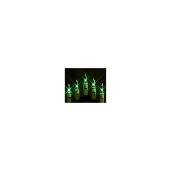 Christmas at Winterland MINI-100-4-G 33 Foot String of Green Mini Incandescent Lights with 4 Inch Spacing and Green Wire Indoor
