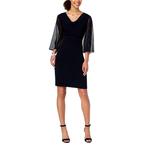 Connected Apparel Womens Cocktail Dress Jersey Cowl Neck