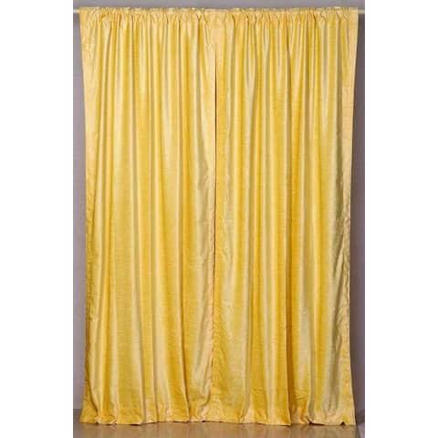 Yellow Rod Pocket Velvet Curtain / Drape / Panel - Piece