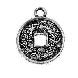 Lead-Free Pewter, Chinese Fortune Coin Charm 14.5x18mm, 2 Pieces, Antiqued Silver