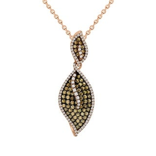 Lovely Leaf Shaped Pendant in 14k Rose Gold with 1.10 Carat Brown and White Diamond