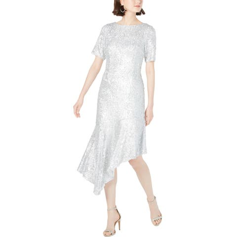 Adrianna Papell Womens Midi Dress Sequined Asymmetric - Silver