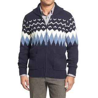 Grayers NEW Blue White Mens Size XL Printed Full Zip Wool Sweater